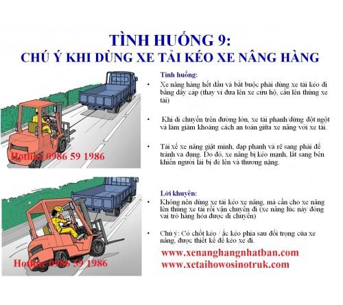 TH09: Không dùng xe tải để kéo xe nâng khi đi tham gia giao thông đường bộ