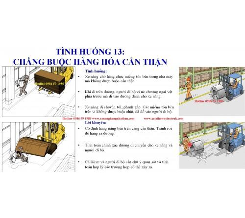 TH13: Chằng buộc hàng hóa cẩn thận khi nâng hạ