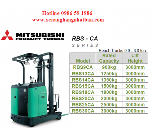 Bánh PU Xe Nâng Điện Đứng Lái Mitsubishi RBS9CA / RBS10CA / RBS15CA / RBS18CA / RBS20CA / RBS25CA / RBS30CA