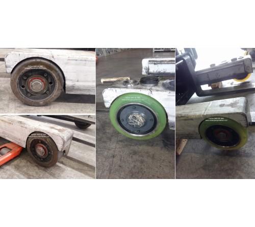 Bánh PU đặc xe nâng điện đứng lái TCM. Model FRB20-8,FRB20-8A, FRHB20-8, FRHB20-8A